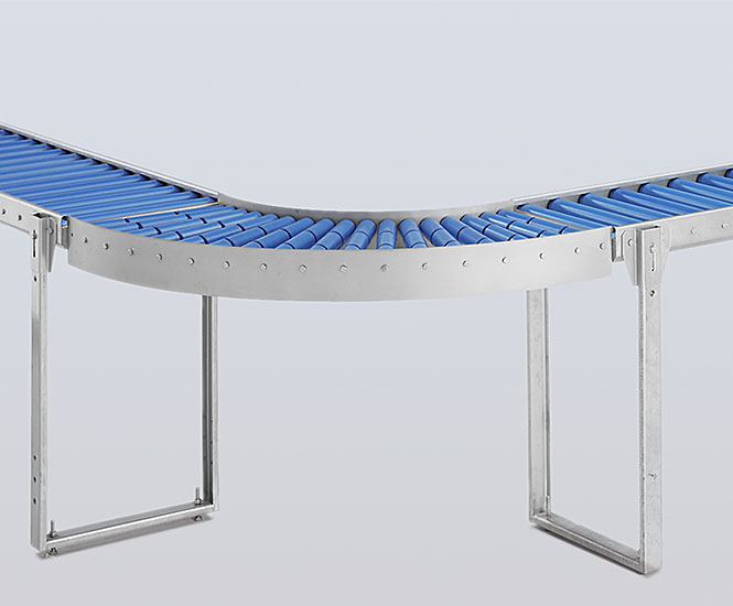 Stainless steel roller conveyor curve 90 degree